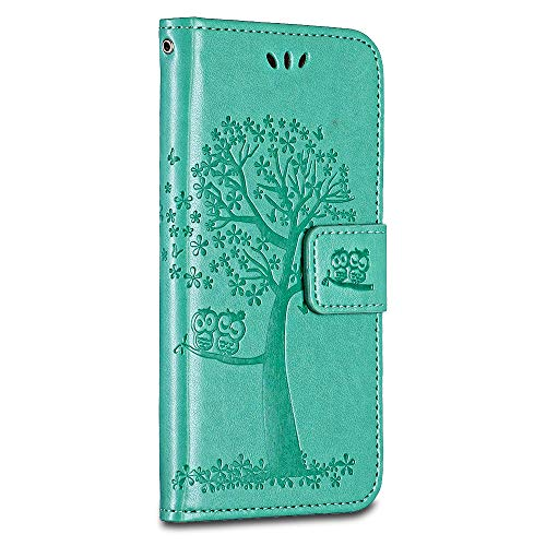 BRAVODAY Huawei P8 Lite 2017 Hülle, Handyhülle Leder Hülle Tasche Flip Schmetterling Ledertasche Lederhülle Klapphülle für Huawei P8 Lite 2017, Grün