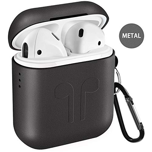 Airpods Case, Qcoqce Funda Airpods en Metal, Ligero Impermeable Antipolvo Airpods Accesorios con Protective Skin Silicona Metalica para Apple Airpods (Gris)