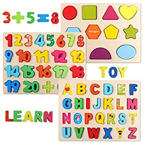 QZMTOY Wooden Puzzles for Toddlers, Wooden Alphabet Number Shape Puzzles Toddler Learning Puzzle Toys for Kids, 3 in 1 Puzzle for Toddlers, Age 3+ (Set of 3)