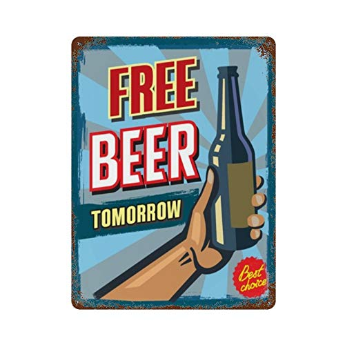 XYHX Metal Tin Sign-36959495 Free Beer Tomorrow Poster-Metal Tin Sign Retro Home Kitchen Office Garden Garage Wall Decor Tin Plaque DMF15.7×11.8