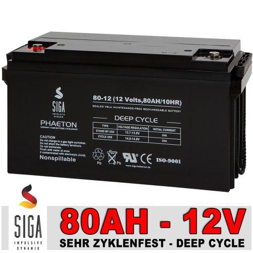 Akku 12V 80AH AGM Gel Batterie Solarbatterie Boot Wohnmobil Versorgungsbatterie zyklenfest 90AH