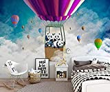 Caricatura, globo aerostático, panda, cielo no tejido Pared Pintado Papel tapiz 3D Decoración dormitorio sala sofá mural-350cm×256cm