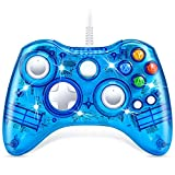 Controller for Xbox 360, VOYEE Wired Controller with Led Lights and Upgraded Joystick for Xbox 360 & Slim/PC Windows 10 8 7 (Clear Blue)