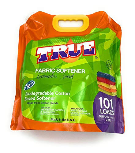 True Detergent Plant Based Fabric Softener 101 Total Loads Liquid Fabric Softener, 101 Fl oz, Made from Cotton Seeds with a Lavender Scent, Made in The USA & Halal