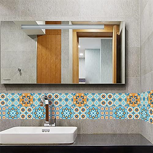 vinilos pared,Pegatinas de azulejos de textura retro azul naranja, estilo europeo, sala de estar, cocina, baño, fondo, mosaico, azulejos de cristal, pegatinas 10 piezas -15 CM