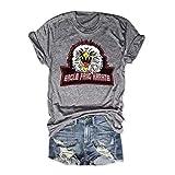Womens Eagle Fang Karate T-Shirt Unisex T-Shirt Summer Short Sleeve Funny Animal Graphic Tee Tops Gray