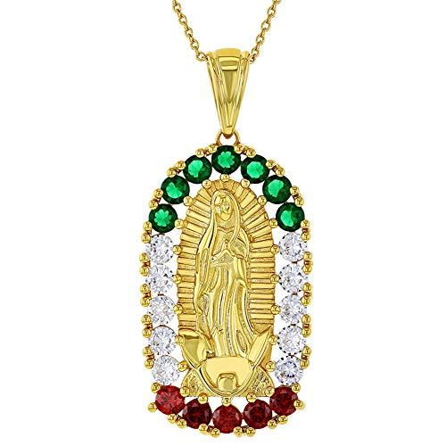 In Season Jewelry Collar con Colgante de Medalla de Nuestra Señora de Guadalupe con la Bandera Mexicana chapada en Oro de 18 Quilates, 48 cm