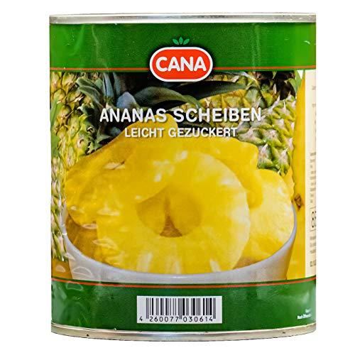 Cana Ananas in Scheiben - 12x 490g Dose - leicht gezuckert eingelegte Ananas in Saft Ananas-Dose Ananasfrucht Obstkonserve vegan glutenfrei schonend verarbeitet