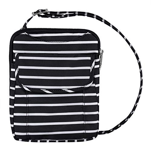 Travelon Anti-Theft Signature Slim Pouch (Black w/White Stripe - Exclusive Color)