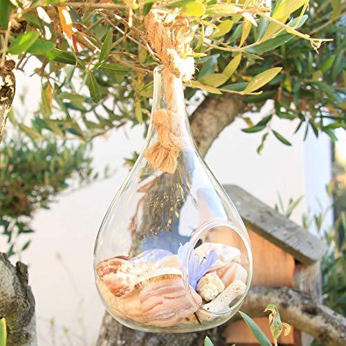 Dekorative Vase, Kerzenhalter, in der Luft hängen, mit Hanfseil, Terrarium, nach kleinen Pflanzen, Kaktus fragen. Wassertropfenform, Heimdekoration, Garten, Büro