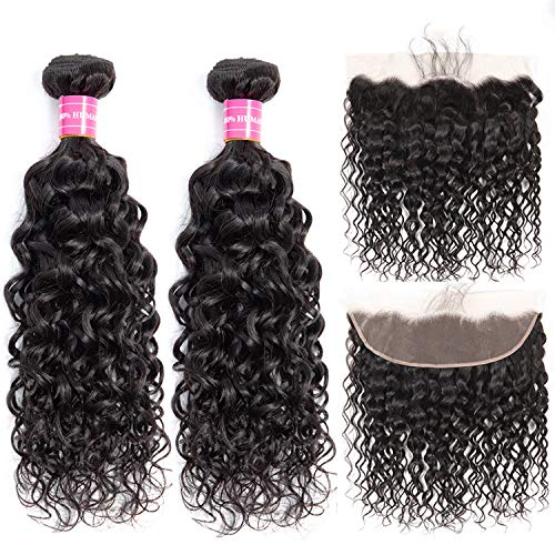 Brazilian Water Wave Bundles with Frontal 100% Virgin Human Hair Wet and Wavy 2 Bundles With Frontal Lace Closure Unprocessed 10A Hair Bundles with 13×4 Ear to Ear Frontal Natural Color(10 12+10)