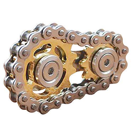 LUCKYYL Juguetes para la Punta del Dedo Gyro Flywheel Sprocket Flywheel Finger Fidget Spinner Toy Metal Gear Chain Road Bike Spinner Niños Fingertip Gyro Flywheel Piñones