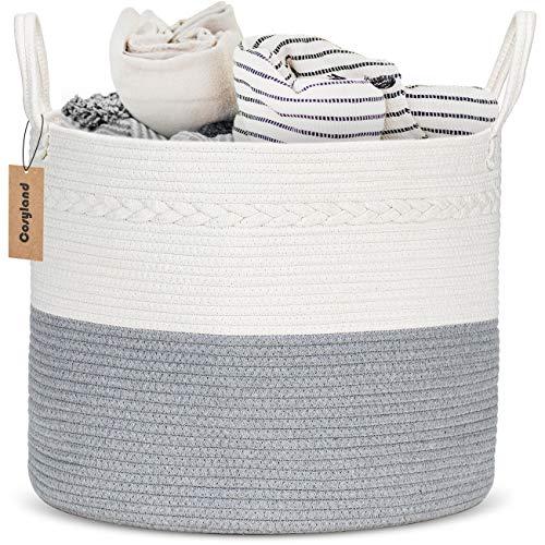 Cosyland 綿織りロープバスケット ランドリーバスケット 大きいサイズ 厚い 洗濯かご 折り畳み式 大容量