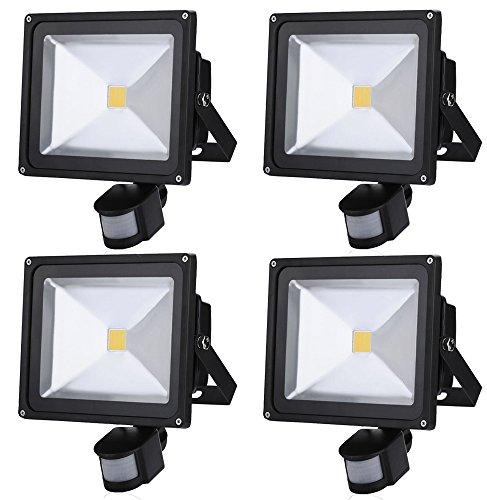 Leetop 4X Projecteur LED lampe de 50W à Détecteur de Movement,IP65 PIR Extérieur Lampe de Capteur Infrarouge Humain,AC85V-265V,120 Degrés Angle de Faisceau,Blanc Chaud