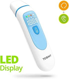 【2019 Updated】TEIBAKY Thermometer for Fever Forehead and Ear Thermometer Baby, Kid and Adult LED Display Accurate Reading with Fever Indicators Medical Thermometer Professional Certification
