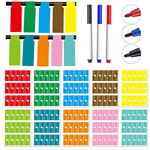Sweieoni Kabel Beschriftung Ettiketten Selbstklebend 300 Pcs Kabelettikett Cable 10Farben UV-beständige Wasserdicht Reißfest Haltbar Kabel Aufkleber +3 Marker Aquarellstift