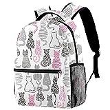 Pink Black Grey Cats CollectionBackpack para la escuela utilizada para bolsas impermeables y...