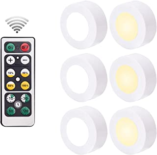 6 Pack Wireless Puck Lights with 2 Remote Controllers, Battery Operated LED Lighting Under Counter Cabinet for Kitchen Ba...