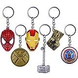 YUIP 6 Pcs Marvel Porte-clés SuperHeroe The Avengers Pendentif Porte-clés,Porte-clés en...
