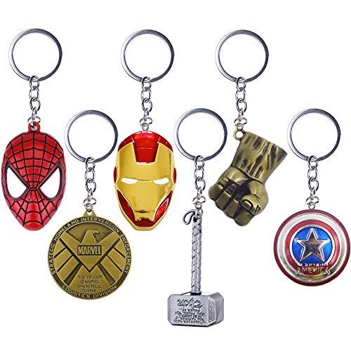 YUIP 6 Pcs Marvel Porte-clés SuperHeroe The Avengers Pendentif Porte-clés,Porte-clés en métal avec Bouclier de Captain America Avengers Noir Panthère Porte-clés Thanos Keychain