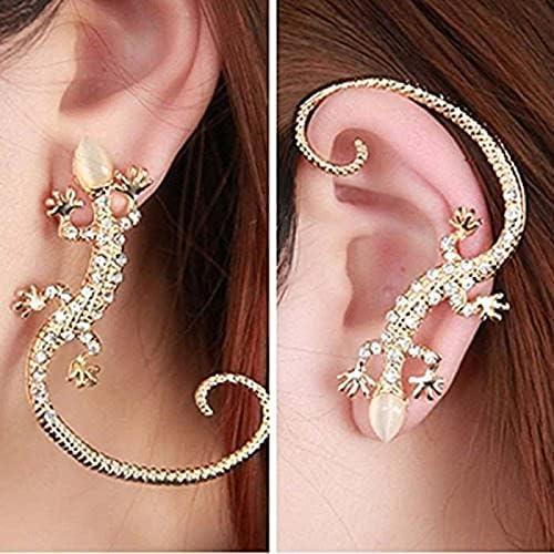 1pc Crystal Rhinestone Ear Cuff Earrings Luxury Gecko Stud Earrings (Gold)