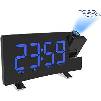 Nexmon Réveil à Projection, réveil numérique avec gradateur, Mode Snooze, Radio réveil FM à écran incurvé, Double Alarme, minuterie d'arrêt, Port de