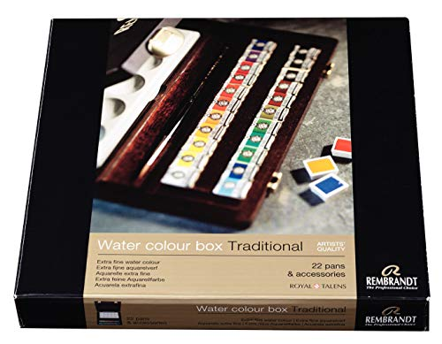 Rembrandt Watercolor Paint Wood Box Traditional Set, 22 Pans + 2 Accessories, General Color Selection