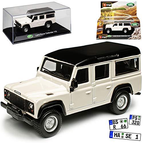 Land Rover Defender 110 Weiss mit Dach in Schwarz 1/43 Bburago Modell Auto
