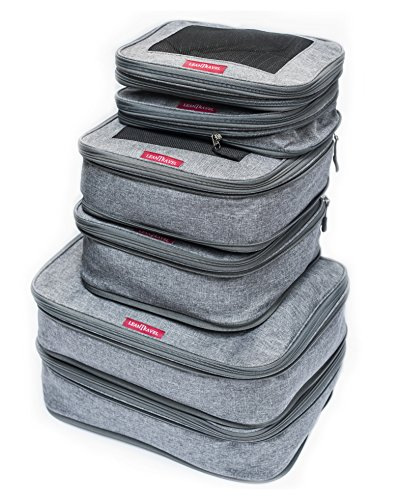 Compression Packing Cubes for Travel, Set of 6, Color Grey, Double Zipper, LeanTravel