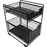 DCIGNA Stackable 2-Tie Under Sink Cabinets Organizer With Sliding Storage Drawer, Pull Out Cabinets Organizer Shelf, Sliding Basket Organizer Drawer For Kitchen, Bathroom, Office (Black)