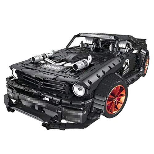 DXX Technik Bausteine 1965 Ford Mustang Hoonicorn Racing Auto, 3168Teile 1:10 Sportwagen Bausteine Konstruktionsspielzeug Kompatibel mit Lego Technic