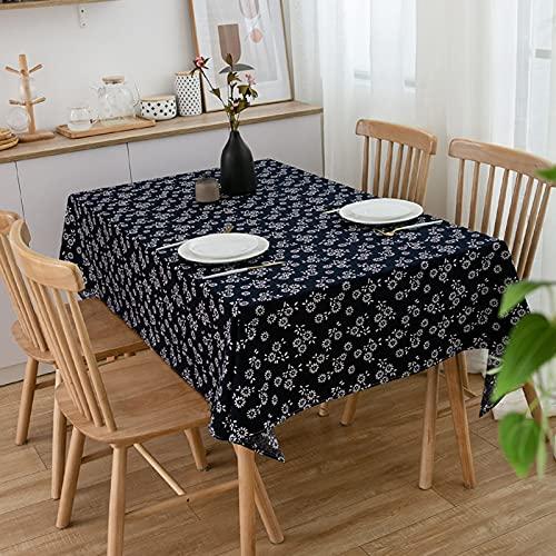 LSSM Style Ethnique Imitation Batik Bleu Marine RéTro Studio Restaurant Nappe Tissu Coton Et Lin Nappe à Thé Blanches Plastique Napperon Rectangulaire Table Basse Rectangulaires Bleu 120 * 160cm