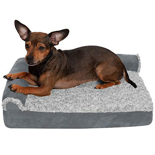 Furhaven Pet Dog Bed – Deluxe Orthopedic Two-Tone Plush and Suede L Shaped Chaise Lounge Living Room Corner Couch Pet Bed with Removable Cover for Dogs and Cats, Stone Gray, Small