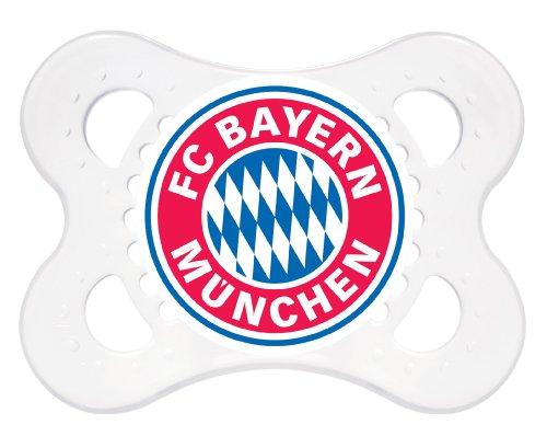 MAM Football Schnuller im 2er-Set, Original Schnuller im Fan Design vom FC Bayern München, zahnfreundlicher Baby Schnuller aus MAM SkinSoft Silikon, 0-6 Monate