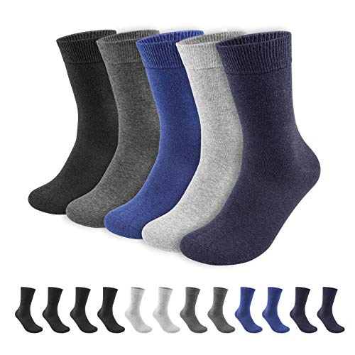 QINCAO Men's Socks 12 Pairs Crew Cushion Socks, Cotton Athletic Calf Socks for Sports Business Men & Women(Multicolored ×12, 9-11)