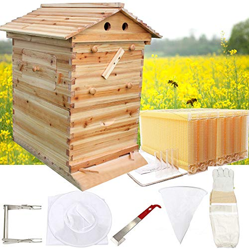 King Showden 7Pcs Auto Beehive Frame Comb, Auto Honey Hive Beehive Frames + Beekeeping Wooden House...