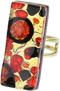 GlassOfVenice Anillo rectangular ajustable de cristal de Murano con reflejos venecianos, color negro y rojo