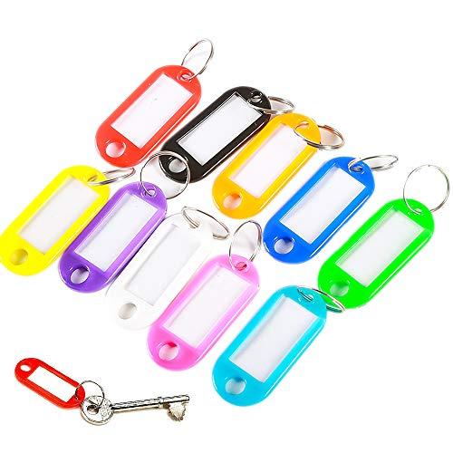 Paquete de 200 etiquetas de plástico para llaveros, etiquetas de equipaje, etiquetas de nombre de colores, etiquetas para llavero, etiquetas de identificación con anillo dividido, 10 colores