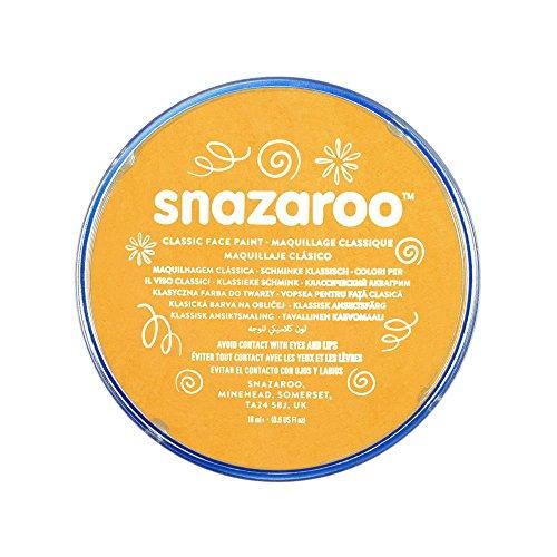 Snazaroo 1118244 Kinderschminke, hautfreundliche hypoallergene Gesichtschminke auf Wasserbasis, wasservermalbar, parabenfrei, gelber ocker, 18 ml Topf