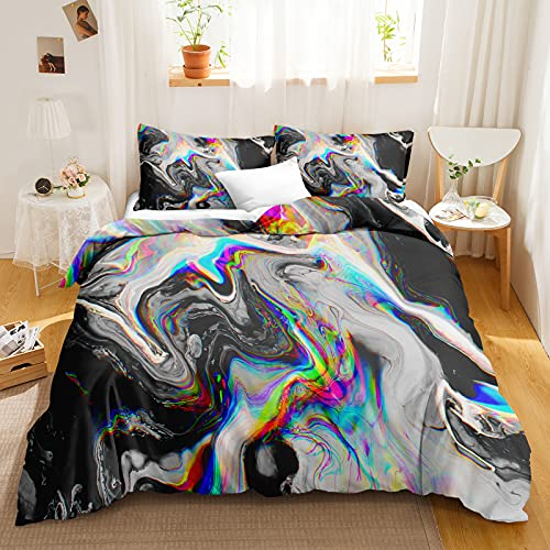 Bedbay Marble Duvet Cover Set Watercolor Bedding Set Abstract Marble Psychedelic Pattern Bedding Queen 3 Pieces for Boys Girls 1 Duvet Cover 2 Pillowcases (Watercolor, Queen)