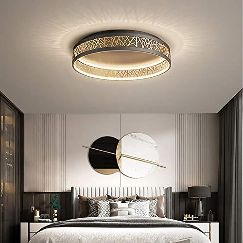 LED Rund Deckenleuchte Dimmbar Modern Design Decke Lampen Schwarz Gold Deckenbeleuchtung mit Fernbedienung Wohnzimmer Schlafzimmer Kinderzimmer Innenleuchte Flurlampe Dekolampe Nachtlampe,Ø52 cm