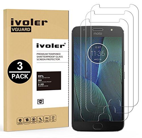 iVoler [3 Pack] Pellicola Vetro Temperato per Motorola Moto G5S Plus, Pellicola Protettiva, Protezione per Schermo