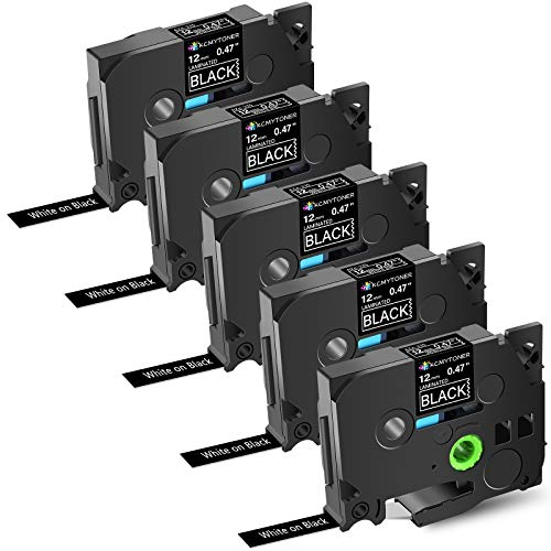 KCMYTONER Compatible for Brother P-Touch TZe335 TZ-335 Label Tape White on Black Laminated 12mm for PT-200 PT-D210 PTD400AD PT-H100 PTD600 PT-P700 PT-2030 Label Maker, 1/2inch x 26.2ft, 5 Pack