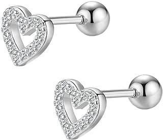 20G CZ Love Heart Tragus Stud Earrings for Women Girls S925 Sterling Silver Cartilage Helix Tiny Cubic Zirconia Barbell Piercing Screw Huggie Jewelry