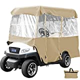 Happybuy Golf Cart Cover 4-Sided Golf Cart Enclosure Club Car EZGO Yamaha Portable Premium Driving Enclosure for 4 Passengers roof up to 79 Inch