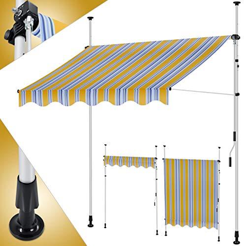 KESSER® Klemmmarkise 350cm x 180cm Orange-Blau mit Handkurbel Balkon, Balkonmarkise ohne Bohren, UV-beständig höhenverstellbar wasserabweisend, Sonnenschutz, Terrassenüberdachung, einfache Montage