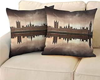 Pack of 2 Fine plush pillowcase London Decor Collection Double-sided printing 24x24 inch The Houses of Parliament with Big Ben under Dark Clouds and a Lightning in a Rainy Day Picture Dimgrey Tan