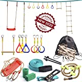 Ninja Line Backyard Obstacle Training Course 50 'Slackline - The Most Complete Kids Hanging Monkey Bar kit with Ladder, Rope and Swing.