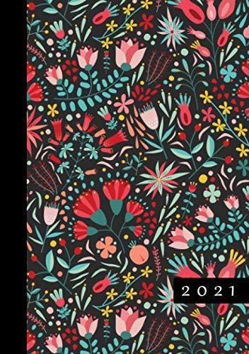 2021: Terminkalender mit Uhrzeiten 5 bis 23h Tag | 1 Tag auf 1 Seite mit Zeiteinteilung | A5 Tagesplaner mit Zeit | Kalenderbuch Planer Organizer ... Jahresplaner | Soft-Cover Floral Muster
