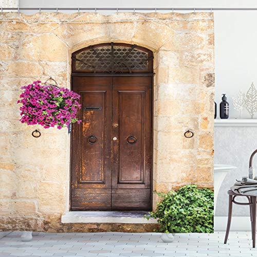ABAKUHAUS Italiaans Douchegordijn, Rusty Houten Deur Italiaans, stoffen badkamerdecoratieset met haakjes, 175 x 220 cm, Cream Lilac Brown